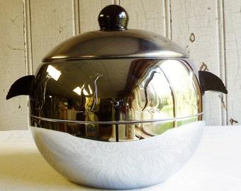 Vintage West Bend Penguin Ice Bucket with Bakelite Handles - Chrome Hot & Cold Server - Vintage Ice Bucket - Mid-Century - 1960s