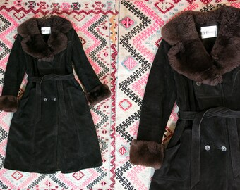 Vintage 1970's Black Suede and Brown Faux Fur Long Coat Retro/Boho/Winter Coat by A & F Originals Women's Medium Large