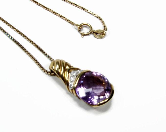 Amethyst Diamond Pendant Necklace, February Birthstone, Sterling Silver, Vermeil Gold, 925 Silver, Vintage Jewelry, February Birthday