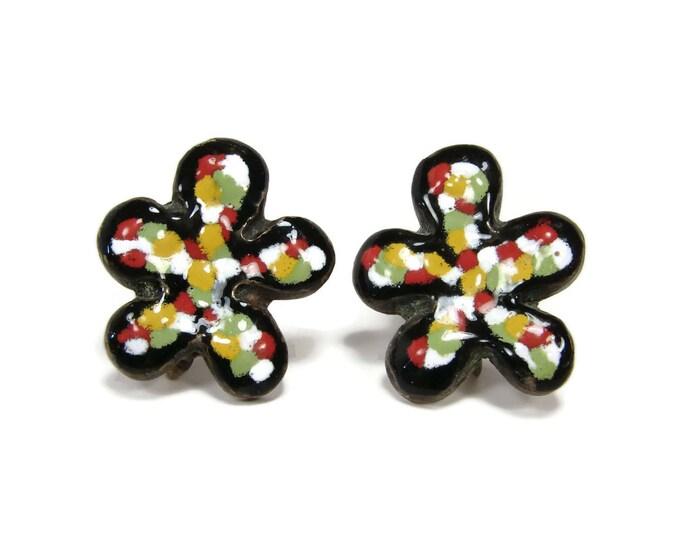 Mid Century Modern Enamel Flower Earrings
