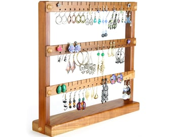 Earring Holder Stand - Jewelry Organizer Stand, Compact Cherry Jewelry Display, Wooden.  Holds 54 Pairs of Earrings. Jewelry Holder