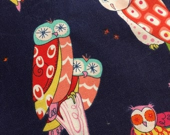 Spotted Owl Navy - Alexander Henry - Fabric - BTY - 1 yard