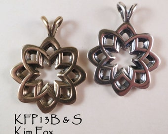 Desert Flower Pendant in Silver and Bronze Two sided pendant  8 petals with open cut layout - abstract flower rounded with openings