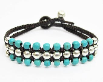 Silver Mini Triple Row Macrame Bracelet with Turquoise Bead