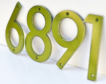 Fern Green Distressed Aluminum House Numbers