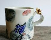 Cat and butterflies, handmade porcelain mug.