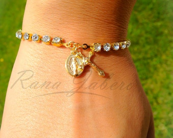 Swarovski® Crystal Rhinestone Gold Plated Clear Miraculous Medal and Cross Crucifix Rosary Bracelet