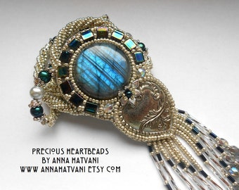 Bead Embroidery Necklace   Blue Silver - Bead Embroidered Labradorite - Heart of the Truest Believer