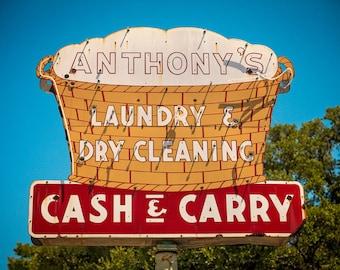 Austin Texas Wall Art | Laundry Room Decor | Neon Sign Print | Anthony's Laundry | Neon Sign Art | Laundry Room Sign | Austin TX | Neon Sign