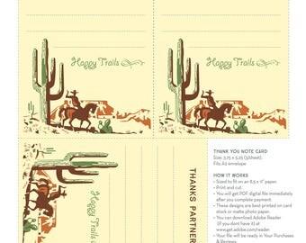 Cowboy Thank You Cards