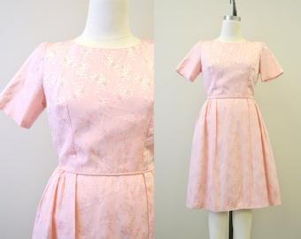 1950s Pink Brocade Dress