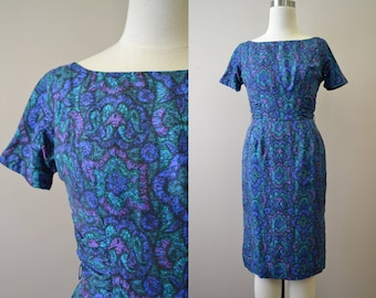 1950s Blue and Purple Print Silk Wiggle Dress