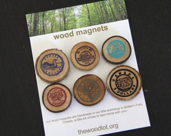 Canadian Coins - 6 wood magnets - for your home or office