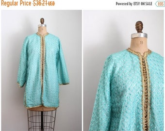SPRING SALE 60s spearmint green embroidered kaftan jacket - Moroccan jacket / 1960s Indian jacket - hippie luxe / metallic gold lurex trim &