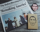 President Barack Obama Moleskine Notebook Hand Carved Linocut Blockprint Historic Presidency
