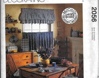 McCall's 2056 Home Decorating Kitchen Essentials Sewing Pattern Curtains, Chair Pads, Placemats, Potholder, Toaster Cover