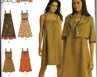 Simplicity 3738 Easy To Sew DRESS Sundress And & Bolero Jacket Sewing Pattern UNCUT Plus Size 14, 16, 18, 20,22