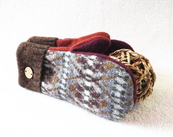 Felted Wool Mittens GREY & BROWN with Pink and Orange Fair Isle Eco-Friendly Sweater Mitts Fleece Lined Mittens by WormeWoole
