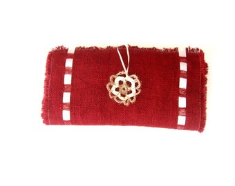 Red Table Runner - Red Burlap Table Runner with Satin Ribbon - Lush Color Table Topper  - Elegant Dining