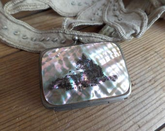 Vintage french Ladies purse  Mother of pearl   Souvenir du Mont Saint Michel