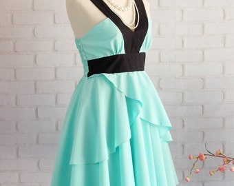 Mint blue dress Retro vintage dress style blue party dress blue prom dress blue cocktail dress mint blue bridesmaid dress v neck dress