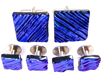 "Dichroic Tuxedo Studs Cuff Links Set - Blue Sapphire Teal Ripple Waves Striped Patterned - 1/4"" & 3/4"" Fused Glass Mens Groom Groomsmen"