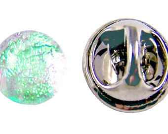 "Dichroic Glass Tiny Tie Tack - Clear Green Teal Verdigris Viridian- 1/4"" 8mm Pinch Pin - Scarf Pin Flair Pin for Suspenders Hat or Coat"