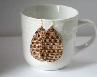 Rose Gold Textured Leather Teardrop Drop Earrings