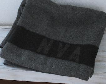 East German military blanket- NVA - gray and black wool blanket
