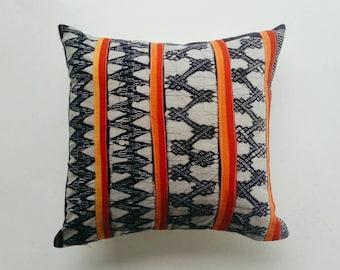 Colorful Hmong Batik Pillow Cover - Bohemian Throw Pillow Vintage