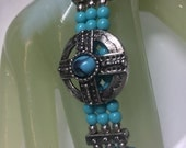"Vintage 14"" Silvertone Turquoise Triple Strand Beaded Necklace"