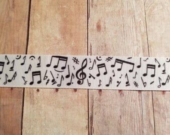 2 Yards of Musical Note 7/8 inch Grosgrain Ribbon