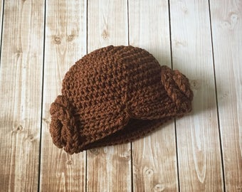 Princess Leia Inspired Hat/ Crochet Princess Leia Wig/ Star Wars Hat Available in Newborn to Child Size- MADE TO ORDER
