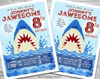 Shark Pool Party Birthday Invitation - PRINTABLE DIY