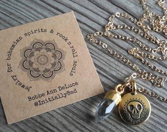 Gold Skull and Mini Quartz Point Necklace