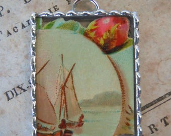 Fiona & The Fig - Victorian Era-Die Cut Scrap - Sailboat Scene - Soldered Charm - Necklace - Pendant-Jewelry