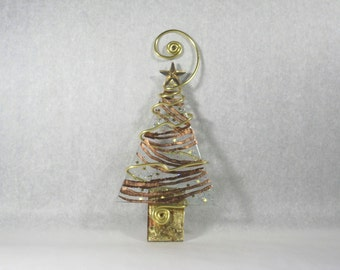 Copper Foil Swirl Christmas Tree Ornament