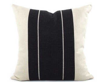 Black and Cream Textured Pillow Cover, Choose Your Size, Stripe Pillow, Throw Pillow, Colorblock Pillow, Black Pillow, Streamline