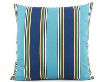 Marvelous Turquoise Blue Outdoor Pillow Cover, 18x18, 20x20, 22x22 Or Lumbar Pillow,  Striped