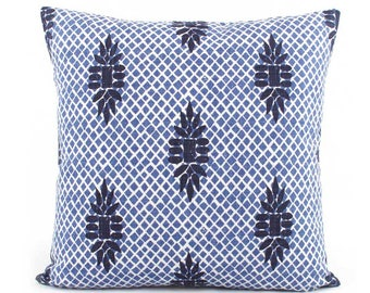 Indigo Blue Wedgewood Trellis Pillow Cover, 18x18, 20x20, 22x22, Eurosham, Lumbar, Decorative Throw Pillow, Accent Pillow, Lacefield Boca