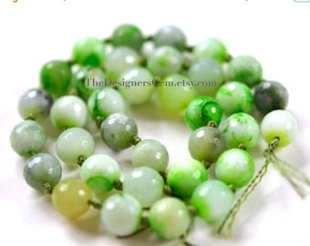 SALE Multi Color White and Bright Lime Green Fire Agate Faceted Rounds 10mm -1/2 STRAND