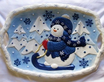 Winter Fun Snowman Ceramic Serving Tray with Handles 18""