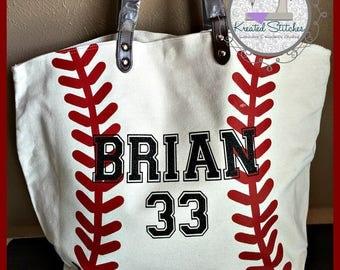 Baseball Tote Custom Baseball Tote with Bling Baseball bag Baseball Mom tote