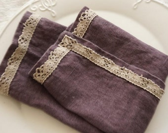 Luxury Stone Washed Linen Napkins with lace Set of 2 - 100% Flax linen-violet