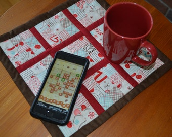Sudoku Mini Quilt, Table mat, coaster, placemat, red, brown, turquoise