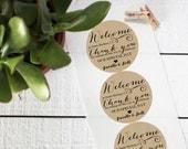 Wedding Favor Labels - Welcome Design - Round - Welcome Favor Labels | Thank You Favor Labels | Welcome Bag Labels | Welcome Box Labels