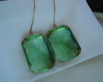 Vintage Art Deco Peridot Green Faceted Glass Dangle Earrings