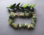 Woodland Nephrite Bracelet, Raw Nephrite Crystal Bracelet, Healing Jewelry, Boho Green Nephrite Bracelet