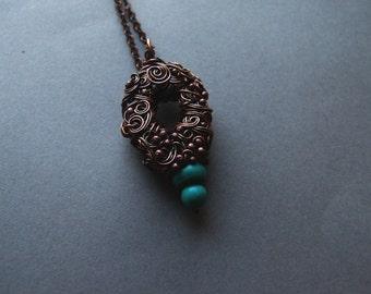 Turquoise Necklace, Woodland Genuine Turquoise Pendant, Retro, Boho Turquoise Necklace