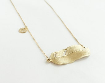 Flying for freedom LONG and PERSONALIZED (necklace) - 14k gold plated feather & Gold Filled disc